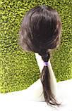 Парик натуральный темно-коричневый на сетке с имитацией кожи головы, фото 8