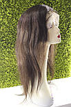 Парик натуральный темно-коричневый на сетке с имитацией кожи головы, фото 9