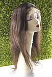 Парик натуральный темно-коричневый на сетке с имитацией кожи головы, фото 4