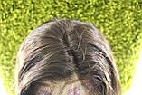 Парик натуральный темно-коричневый на сетке с имитацией кожи головы, фото 5