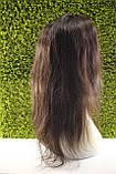 Парик натуральный темно-коричневый на сетке с имитацией кожи головы, фото 3