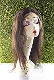 Парик натуральный темно-коричневый на сетке с имитацией кожи головы, фото 6