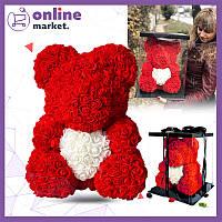 Мишка из роз 40 см с сердечком в подарочной коробке / Мишка из цветов