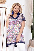 Суперстильная летняя блуза–туника 60760 (52–66р) в расцветках