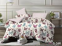 Красивое постельное белье из сатина бежево-розового цвета с принтом Бабочки размер Евромакси