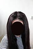 Парик натуральный очень густой темно-русый на сетке с имитацией кожи головы, фото 2