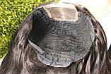 Парик натуральный очень густой темно-русый на сетке с имитацией кожи головы, фото 10