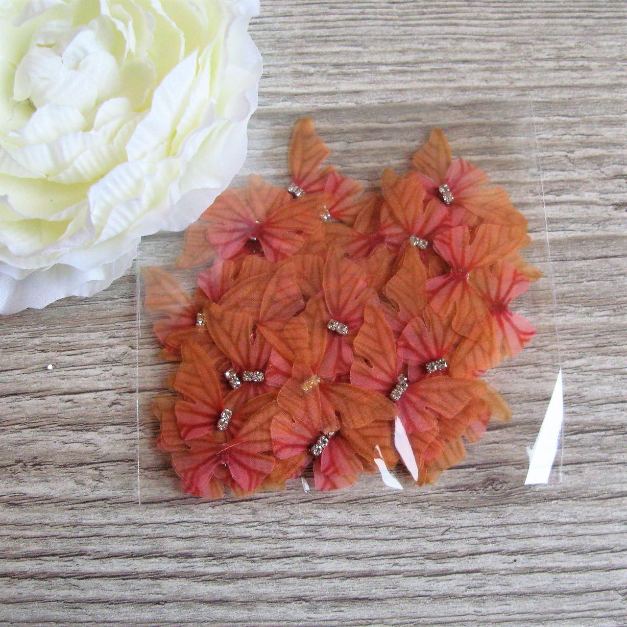 Бабочки маленькая из шифона. Оранжево алые, 3 на 2 см