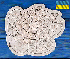Алфавіт, абетка, пазл українська дерев'яна, черепаха