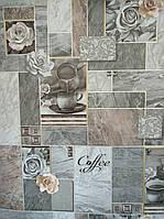 """Шпалери вінілові """"Смачна кава"""" в кухню, сірий з графітовим та коричньовим  0,53 Х 10 – Славянские 5718-10"""