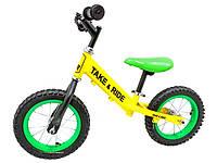 Детский беговел Take&Ride на резиновых надувных колесах RB-50 Classic желто-салатовый.