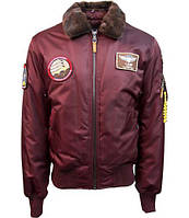 Оригинальный бомбер Top Gun B-15 Nylon Bomber Jacket With Removable Patches TGJ1732 (Burgundy), фото 1