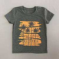 Детская футболка для  мальчика р. 116 (5-6 лет) серая с пальмами