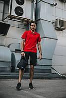 Мужской спортивный комплект Nike реплика (найк), поло + шорты + ПОДАРОК  Цвет: красный