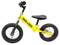 Детский беговел Take&Ride на резиновых надувных колесах RB-50 Classic желто-черный