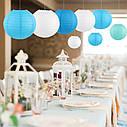 Китайский фонарик шар (25см) голубой, фото 4
