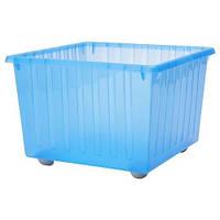 Ящик на колесах для іграшок з кришкою Ikea Vessla blue