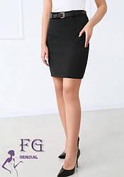 Женская черная офисная короткая прямая юбка карандаш