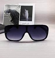 Солнцезащитные женские очки маска черные с синим градиентом, фото 1