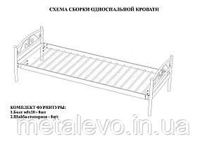 Односпальная металлическая кровать РЕЛАКС, фото 3