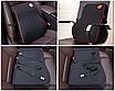 Автомобильная подушка (набор) под поясницу и на подголовник в автомобиль черная с красной строчкой, фото 2