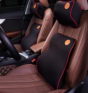 Автомобильная подушка (набор) под поясницу и на подголовник в автомобиль черная с красной строчкой