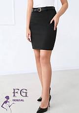 Бордовая деловая короткая юбка карандаш завышенная посадка, фото 2