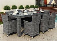 Комплект обідній  плетений Orso Grey   стіл 200см+8 крісел Condor