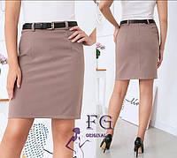 Бежевая офисная мини юбка по фигуре на талию
