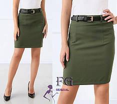 Классическая короткая прямая деловая юбка хаки