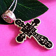 Серебряный Крест с черной эмалью и распятием, фото 4