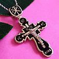 Серебряный Крест с черной эмалью и распятием, фото 2