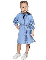 """Сукня блакитна для дівчинки вишита на льоні """"Іванна"""" розмір"""