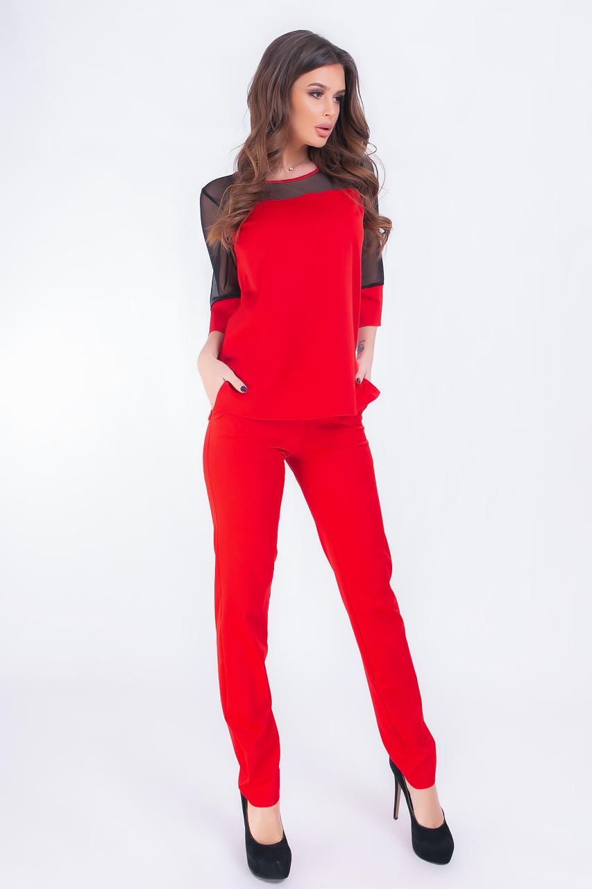 Женский костюм  арт. 153 батал  красный