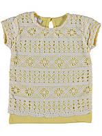 Необычная стильная футболка с кружевом для девочки. Цвет жёлтый. Бренд Lollico.