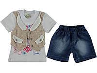 Стильный костюм (футболка, шорты) для девочки. Состав 100% хлопок. Цвет золотистый, синий. Бренд Pakel.