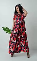 Летнее длинное платье в стиле бохо с крупными красными цветами размер 44-46,48-50