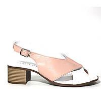 Комбинированные кожаные женские босоножки на среднем каблуке GOLD