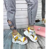 Женские босоножки на платформе, на шнурках, желтые, код FN- 26922