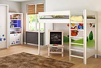 Белая кровать детская чердак LukDom Hugo160х80