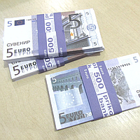 Хит! Деньги Сувенир в Пачках 5 евро 80 шт/уп, качественная печать