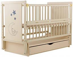 Кроватка детская Babyroom Медвежонок M-03 маятник, ящик, откидной бок бук слоновая кость