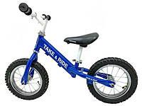 Детский беговел Take&Ride на резиновых надувных колесах RB-50 Classic сине-белый.