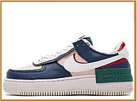 Жіночі кросівки найк аір форс шадов, різнокольорові / Air Force 1 Shadow Mystic Navy