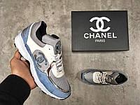 Кроссовки женские Chanel в стиле Шанель, тенкстиль код Z-1337. Серые с голубым