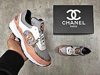 Кроссовки женские Chanel в стиле Шанель, тенкстиль код Z-1338. Серые с персиковым