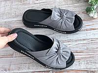 Женские кожаные шлёпки серые Турция 833 сер размеры 36-40, фото 1