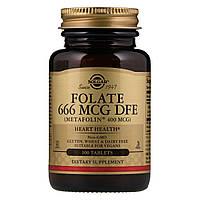 Фолиевая Кислота (В9), Метафолин, Metafolin, 400 мкг, Solgar, 100 таблеток