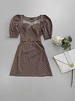 Платье-трапеция в горошек с пышными рукавами, фото 1