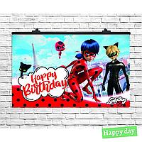 Плакат для праздника Леди Баг и мистер кот, 75х120 см(89949)